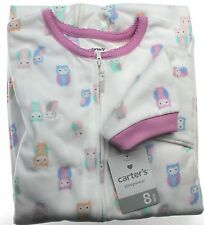 Carter's NWT Kid Girl 6 7 8 10 Micro Fleece Footed Pajama Blanket Owl Sleeper