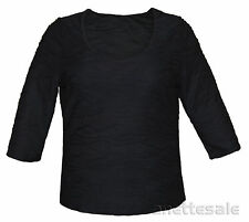 SO FABULOUS ! BNWT Ladies Jacquard Black Top 3/4 Sleeve Scoop Neck Size 18,20,26