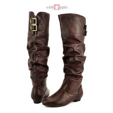Pointy Toe Slouchy Knee High Riding Boot Faux Leather Low Heel Soda Carano Brown