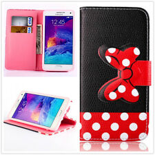 Dots bowknot Cute Cartoon Wallet card slot Leather Stand Case Cover for phones 1