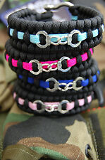 Ladies Police Law Enforcement 550 Paracord Bracelet Handcuffs Pink & Blue