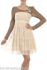 RYU Cream Brown Lace Floral Country Western Wedding Bridal Cocktail Dress S M L