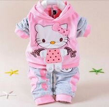 New Hello Kitty Baby Girls Suits Set 2pcs Sets jackets Pants Children Clothing