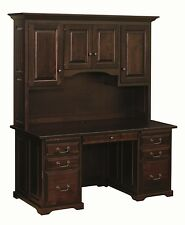 """60"""" Amish Executive Computer Desk Hutch Home Office Solid Wood Oak Maple New"""