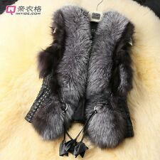 new women ladies short design female faux fox fur vest leather vest coat jacket