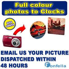 New - Personalised Wall Clock - Your Photo or text - Custom Time - Comes boxed