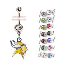 NFL MINNESOTA VIKINGS AUTHENTIC LOGO CHARM DANGLE NAVEL BELLY RING! NRNFL-103