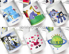 PERSONALISED KIDS Childrens Colourful PLASTIC MUGS Cups Named Gifts for BOYS New