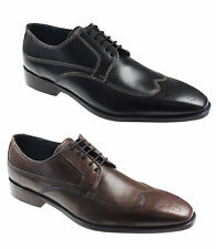 NEW MENS LEATHER FORMAL BROGUE OXFORD WORK SMART LACE SHOES UK SIZES 6-12