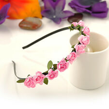 Rose Flower Crown Festival Headband Wedding Floral Garland Hairband Accessories