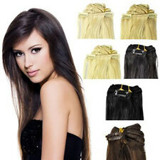 "Full Head 8PCS 90g-120g 16""-24"" 100% Remy Real Human Hair Extensions Clips In"