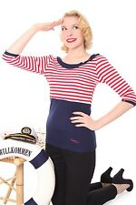 SugarShock Anissa Streifen Sailor 50er retro Pin Up Kragen Rockabilly Longsleeve