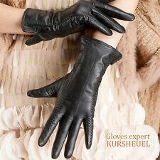 USA STOCK Touch Screen Women Lady lambskin soft leather driving Black Gloves