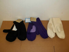 NWT Isotoner Womens Sherpa Lined Acrylic Solid Color Mittens-Black-Ivory-Purple