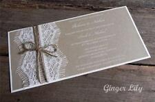 Rustic Lace DIY Wedding Invitation Kit ~ 'Eyelash DL Invite' ~ Makes 25 Invites