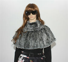 Fashion Women's Real Genuine Hand Knitted Rex Rabbit Fur Stole Cape Wrap Shawl