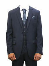 Marc Darcy Mens Designer Navy Blue Suit 3 Piece Idel For Weddings & School Proms