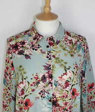 ex George/Asda Long Sleeve Blouse in Soft Sage Shade with Multi Floral Print