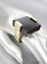 BOLD UNIQUE & CHUNKY Gold Square Black Onyx Cocktail STATEMENT Ring