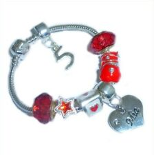 CHILDRENS/GIRLS PERSONALISED NAME/INITIAL & AGE CHARM BRACELET RED/WHITE BOXED