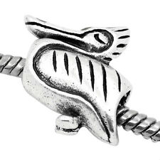 NEW Antique Silver Tone Goose Pelican Bird Charm Bead Fit Most European Bracelet