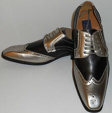 Majestic 99506 Mens Fashion Spectator Dress Shoes Pewter Silver Foil & Black