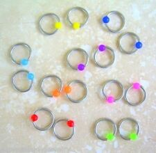 "2 PIECES 16g 5/16"" Steel Captive Bead Ring 3MM Acrylic Neon Ear Tragus Eyebrow"