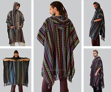 Manakamana Mexican Cotton Hooded Poncho, Mens / Womens