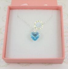 Sterling Silver AB Aqua Crystal Heart Necklace For Bridesmaids, Flower Girls