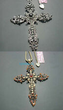 New Betsey Johnson Vintage Style Crystal Silver/Bronze Cross  Necklace  BJ606