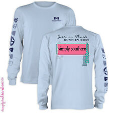 New Simply Southern Collection Girls in Pearls Girlie Bright Long Sleeve T Shirt