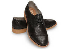 TOMS Women's Brogue Black Crackled Leather Wingtip Detail Sz 6-9 NEW