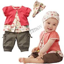 NWT Toddler Baby 3PCs Set Outfit Girl Top+Shorts Pants+Headband Clothes SZ 0 1 2