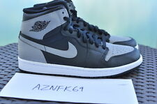 2013 Nike Air Jordan 1 Retro Hi Og Black Shadow grey 555088 014 Bred Banned Ban