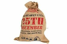 Christmas Handcrafted Hessian Jute Santa Sack Party Gift Stocking Toy Tree Bag