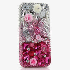 iPhone 6 6S / 6S Plus 5S Bling Crystals Case Cover Silver Pink Bow