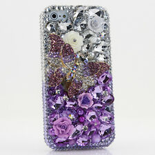 iPhone 6 6S / 6S Plus 5S Bling Crystals Case Cover Purple Clear Butterfly Flower
