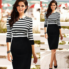 Woman 3/4 Sleeve Striped Patchwork Slim Fit Pencil Career Dress Size S-XXL gl