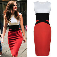 New Fashion Summer Women Stitching Sleeveless Pencil Sexy Evening Dress GOCG