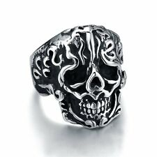 Unique Men's Skeleton Skull  Stainless Steel PUNK Cool Ring Jewelry Size 6-11