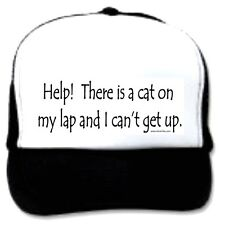 trucker hat cap foam mesh poly-foam HELP there is a cat on lap can't get up