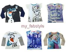 PRIMARK GIRLS Boys DISNEY FROZEN ELSA LET IT GO OLAF T SHIRT TOP 3 - 13 YR