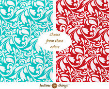 DAMASK  Cotton Flannel Fabric Red or Turquoise  U Choose