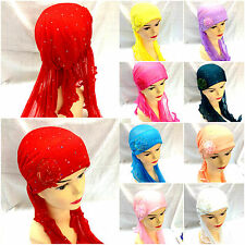 NEW HQ Scarf Hat Chemo Hijab Turban Cap Beanie Stretchable scarf tie hair Cover