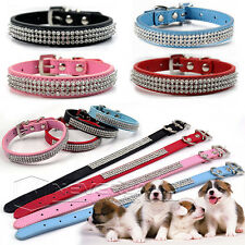 Pet Dog Cat Puppy Collars Rhinestones Leather Chic Bling Crystal Buckle Diamond