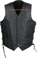 Mens Leather  Motorcycle Vest Premium Leather