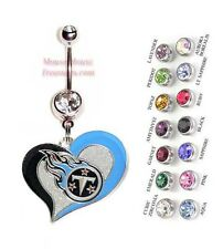 NFL TENNESSEE TITANS AUTHENTIC LOGO HEART CHARM DANGLE BELLY RING! NRHNFL-125