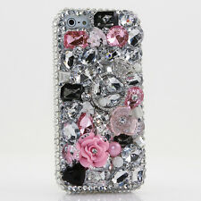 iPhone 6 6S / 6S Plus 5S Bling Crystals Case Cover Clear Pink Flower Silver Ring