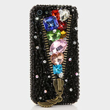 iPhone 6 6S / 6S Plus 5S Bling Crystal Case Cover Black Rainbow Diamonds Zipper