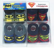 DC Comics 2-Pack Infant Toddler Booties Socks 0-12 Months Batman Superman BNIB`